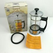 Vintage Nos Dimbula Tea And Coffee Maker French Press 2 Cup Pyrex Glass Chrome