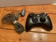 Microsoft Xbox 360 Oem Wireless Controller Black Works 1403 Play And Charge Cable