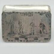 Antique 19c Imperial Russian Silver Niello 84 Snuff Box 2 Sided Myths Gods