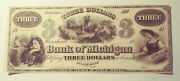 3 Dollar Bank Of Michigan Marshall Unissued Obsolete Currency Pm-160