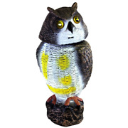 16 In. Solar Powered Garden Owl Decoy Pest Repellant With Led Light Up Eyes Sc