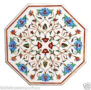 24x24 Marble Side Table Top Marquetry Mosaic Inlay Furniture And Hallway Decor