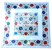 30x30 White Marble Lapis Turquoise Carnelian Coffee Table Top Inlay Decor Gift