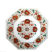 18x18 White Marble Coffee Table Top Carnelian Marquetry Inlay Home Decor Gift