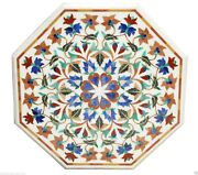 2and039x2and039 Marble Coffee Table Top Handmade Lapis Inlay Marquetry Mosaic Home Decor