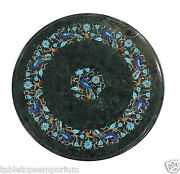15 Green Marble Coffee Table Top Turquoise Floral Peacock Arts Marquetry Decor