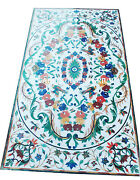 5and039x2.5and039 White Marble Dining Coffee Table Top Multi Stones Inlay Furniture Decor