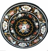 24x24 Marble Side Table Top Mosaic Inlay Marquetry Furniture Garden Decor Gift