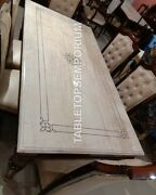 4and039x2and039 White Marble Dining Top Center Table Inlay Handmade Living Room Decor E948