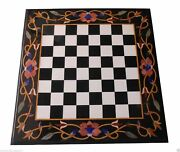 30x30 Marble Coffee Chess Table Top Hakik Gemston Floral Marquetry Inlay Decor