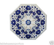 18x18 Marble Top End Tables Lapis Lazuli Inlay Mosaic Marquetry Inlay Decor