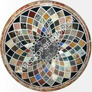 36x36 Inlay Marble Round Decor Dining Room Home Table Top Mosaic Design E468a