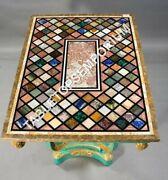 4and039x2and039 Black Marble Dining Center Table Top Multi Mosaic Inlay Outdoor Decor E621