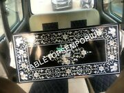 4'x2' Black Marble Conference Table Top Elephant Art Mother Of Pearl Inlay E1143