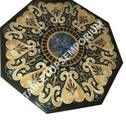 36 Black Marble Dining Side Table Top Pietra Dura Inlay Hallway Home Decor E934