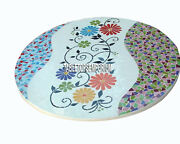30 White Marble Coffee Top Table Floral Antique Mosaic Inlay Garden Decor H3805