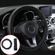 Universal Leather Steering Wheel Covers For Auto Car Suv Van Solid Black 38cm