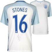 John Stones England National Team Autographed 2016-2017 Home Jersey - Icons