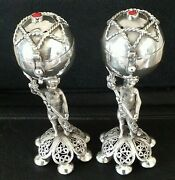 Scarce Victorian Russian Solid Silver Putti Casters Nikolai Alexeev Moscow 1873