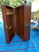 Vintage Brown Leather Portable Bar In A Box Travel Set Liquor Case 50s 60s Usa