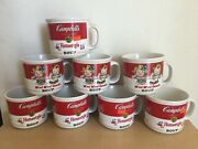 Vintage Lot Of 8 Large Campbell's Soup Ceramic Collectible Mugs / Cups New