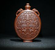 Old Chinese Peking Snuff Bottle Carved Boxwood Bottles Wood Carving Statue Gifts
