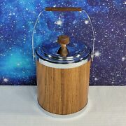 Vintage Kromex Chrome And Wood Grain Ice Bucket With Lid Made In U.s.a. 9 Tall
