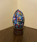 Vintage Murano Millefiori Glass Egg Paperweight Collectible