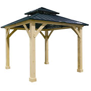 Patiojoy 10and039x10and039 Outdoor Patio Hardtop Gazebo Double Steel Roof Solid Wood Frame