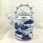 Chinese Blue And White Pottery Teapot Large Decorative Vintage Oriental China