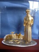 Lucite Hard Plastic Box Display Paperweight Religious Saint Birds Large 7lb Wow
