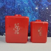 Vintage 2 Piece Canister Set Cols. Plastic Products Red Retro 1950s Coffee Flour