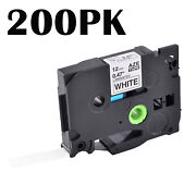 200pk Tze231 Tz231 Black On White Label Tape Ribbon For Brother P-touch 1/2