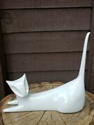 Vintage Royal Dux Sleek White Cat Figurine Marked And Numbered 853 Czechoslovakia