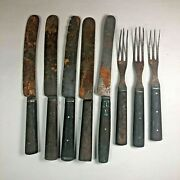 Lot Of 8 Antique Kitchen Flatware -- 5 Knives And 3 Three-tine Dinner Forks