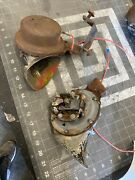 Original 1950's Car Truck Low Note Horn Assembly W/ Mounting Bracket Oem Aaa49