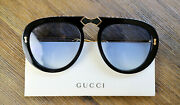 Gg0307s 56mm Foldable Aviator Sunglasses In Black W.crystals And Blue Lens