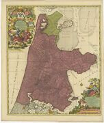 Antique Map Of The Province Of Noord-holland By Schenk C.1730