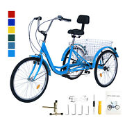 24and039and039 7 Speed Adult Trike Tricycle 3-wheel Bike Bicycle W/basket And Backrest