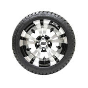 Set Of 4 Gtw 12 Vampire Black/machined Golf Cart Wheels And 215/35-12 18 Tires