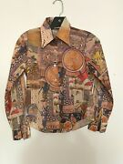 Vintage 1970s Novelty Print Shirt Mexican Art Collage Xs