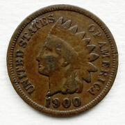 1900 Indian Head One Cent Penny Beautiful Colorful Toning Brown United States