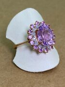 Magnificent 3.10ct Pink Kunzite And Diamond Cocktail Ring In 9k Rose Gold