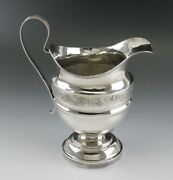 Antique C1825 American Coin 900 Silver Milk Pitcher Large Creamer 6 1/2 255g