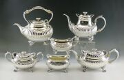 6pc Antique Sterling Silver Whiting Georgian Style Tea And Coffee Set W/ Kettle