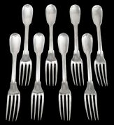 """8 French Antique C1815 Sterling 950 Silver Threaded Fiddle Dinner Forks 8 1/4"""""""