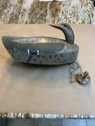 """Antique Hen Mallard 15"""" Working Decoy Hand Painted Lead Keel And Anchor"""