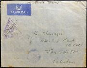 1941 Wwii Indian Army Airmail Cover Asmara-jerusalem Via Newly Liberated Beirut