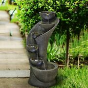 Water Fountain Outdoor Indoor Garden Outside Fountain With Light Patio Deck
