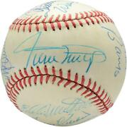 500 Home Run Club Signed Vintage Toned Baseball With 12 Sigs - Psa V14200